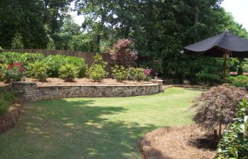 well-maintained garden with hardscape