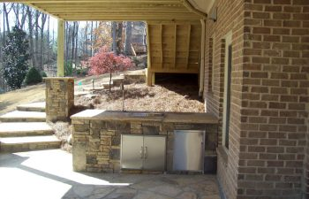 outdoor flagstone kitchen