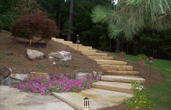 backyard flagstone patio and stone steps